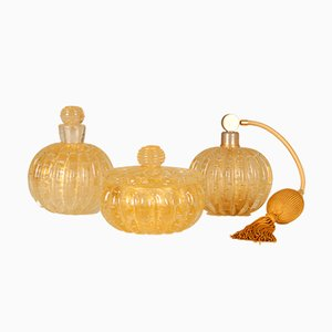 Mid-Century Murano Glass Perfume Bottles and Powder Bowl Set by Ercole Barovier for Barovier & Toso, 1960s, Set of 3