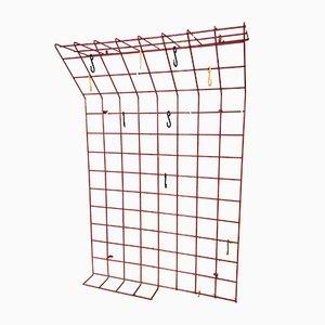 German Minimalist Red Wire Metal Wall Coat Rack by Karl Fichtel for Drahtwerke Erlau, 1950s