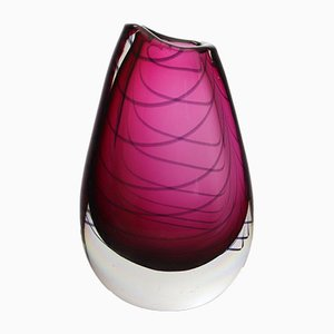 Murano Sommerso Red-Purple Glass Vase Encased with Spiral, 1960s