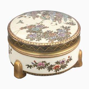 Japanese Cylindrical Satsuma Lidded Box by Hododa, 1910s