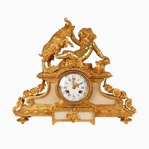 Antique 19th Century Gilt Bronze Cherub Mantel Clock with Mythological God Bacchus Decoration