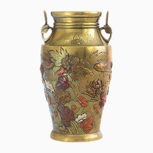 Big Japanese Meiji Period Bronze and Mixed Metal Vase, 1885s