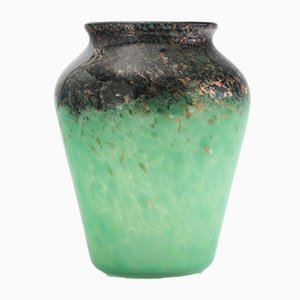 Art Deco Glass Vase in Celadon and Black with Bronze Aventurine by Monart, 1930s