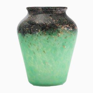 Vase Art Deco en Verre Celadon et Noir avec Aventurine en Bronze par Monart, 1930s