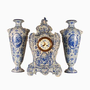 Large Antique Dutch Rococo Style Delftware Ceramic Clock Garniture with Vases Royal Bonn Germany, Set of 3