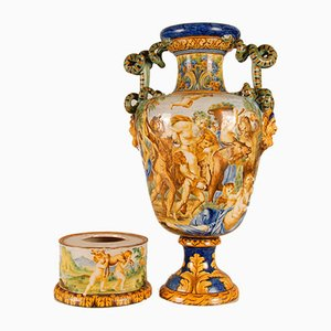 Tall Italian Majolica Serpentine Handles Vase with Separate Base Depicting Mythological Scene by Annibale Carracci, Farnese Gallery, Rome, 1597