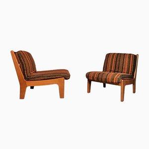 Low Scandinavian Solid Teak Easy Chairs, 1960s, Set of 2