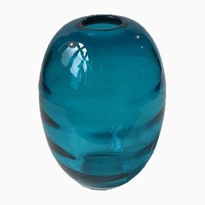 Ovoid Turquoise Glass Vase with Optical Stripes by Holmegaard, 1950s