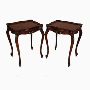 Antique Walnut & Marquetry Inlaid Side Tables, Set of 2