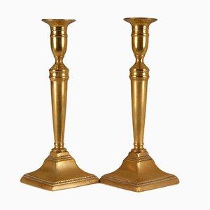 English Georgian Bronze Push Up Candlesticks on Beaded Square Feet, Set of 2