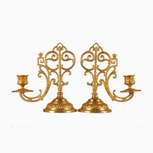 Antike Französische Gotische Renaissance Altar Kerzenhalter mit Schwerem Sockel, 2er Set