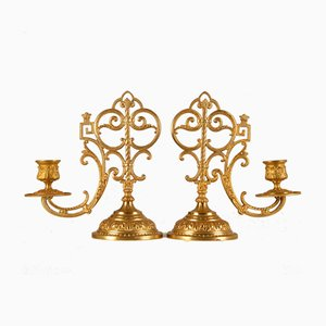 Antique French Gothic Renaissance Revival Style Church Altar Candleholders with Heavy Base, Set of 2