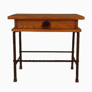 Handgefertigter Tisch aus Schmiedeeisen mit Schublade aus massiver Eiche von Jacques Adnet