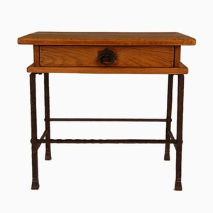 Handmade Wrought Iron Table with Solid Oak Drawer by Jacques Adnet