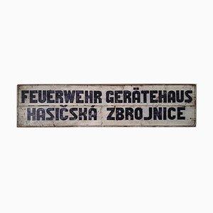 Vintage German & Czech Fire-Brigade Sign, 1930s