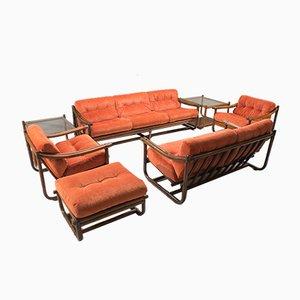 Mid-Century Italian Bamboo Living Room Set, 1960s, Set of 7