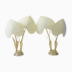 Hollywood Regency Silk and Brass Table Lamp by Antonio Pavia, 1970s, Set of 2