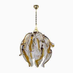 Lampe à Suspension Mid-Century Moderne en Verre Murano Ambré et Laiton, Italie, 1970s
