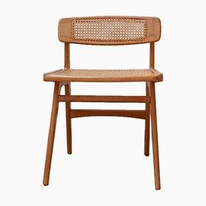 Mid-Century Schreibtischstuhl aus Holz & Schilfrohr von Roger Landault