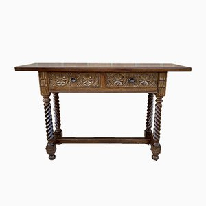19th Century Spanish Baroque Carved Walnut 2-Drawer Console Table
