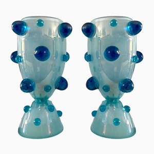 Mid-Century Italian Blown Blue Murano Glass Table Lamp from Barovier & Toso, 1950