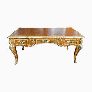 Französischer Walnuss & Bronze Schreibtisch im Louis XV Stil mit Lederplatte