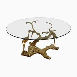 French Sculptural Brass and Glass Coffee Table by Willy Daro, 1970s