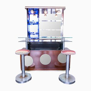 Mobile bar vintage con due sgabelli, anni '60, set di 3