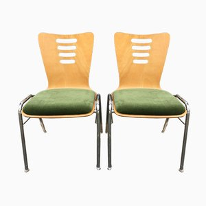 Stackable Metal & Wood Chairs, 1990s, Set of 2