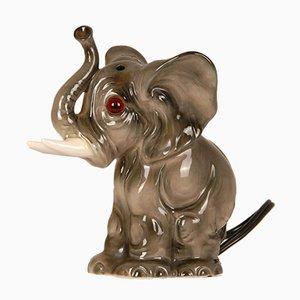 Art Deco Porcelain Animal Figural Elephant Perfume Lamp and Perfume Burner with Glass Eyes by Goebel