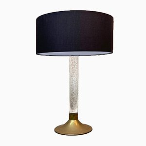 Mid-Century Modern Italian Plexiglass and Brass Table Lamp, 1960s