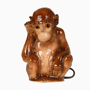 Deutsche Art Deco Tierfiguren Affe Duftlampe und Tischlampe mit Glasaugen