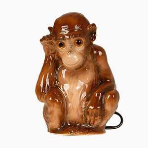 German Art Deco Animal Figural Monkey Perfume Lamp and Table Lamp with Glass Eyes