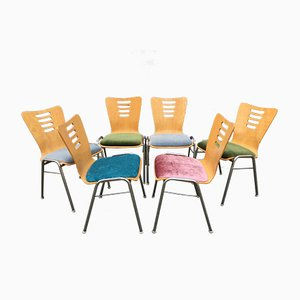Stackable Metal and Wood Chairs, 1990s, Set of 6