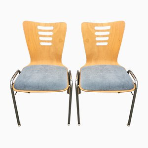 Stackable Metal and Wood Chairs, 1990s, Set of 4