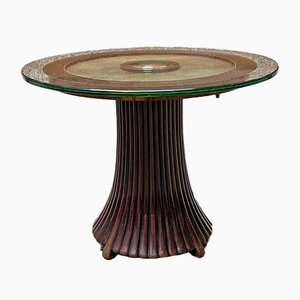 Early 20th Century Italian Art Deco Coffee Table with Glass Top, 1930s