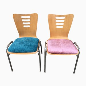 Metal and Wood Stackable Chairs with New Upholstery, 1990s, Set of 2