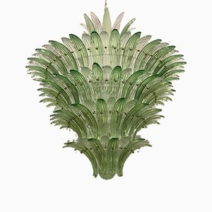Mid-Century Round Green and Transparent Murano Glass Chandelier, 1990s