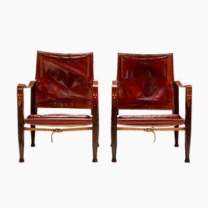 Safari Chairs in Oxblood Leather by Kaare Klint for Rud. Rasmussen, Denmark, 1950s, Set of 2