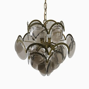 Chandelier with Nickel-Plated Metal Frame and Tinted Glasses