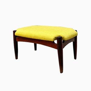 Mid-Century Modern Italian Teak and Yellow Cotton Footrest, 1960s