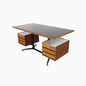 Desk in Teak with Black Glass Top, 1950s
