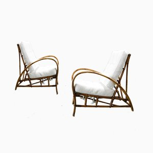 Armchairs in Bamboo and White Fabric, Set of 2