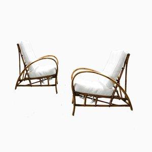 Armlehnstühle in Bambus und weißem Stoff, 2er Set