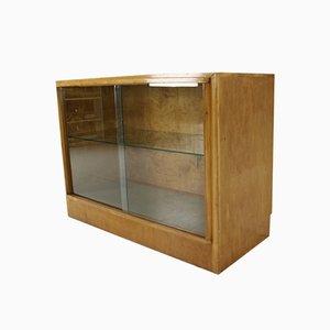 Birchwood Display Cabinet with Light, 1950s