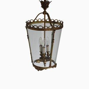 Lanterne en Laiton et Verre, 1950s
