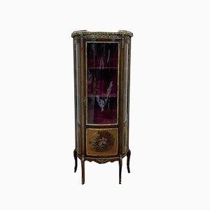 Napoleon III Showcase Cabinet in Mahogany & Bronze with Marble Top and Martin Varnish