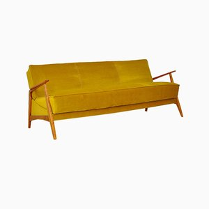Mid-Century Velvet and Cherrywood Sofa or Daybed, 1960s