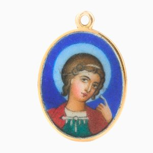 20th Century Russian Painted Enamel Saint George Pendant from Faberge, 1900s