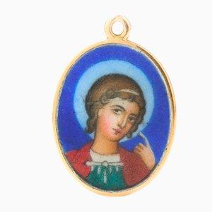 Lampe à Suspension Saint George du 20ème Siècle en Émail Peint de Faberge, 1900s